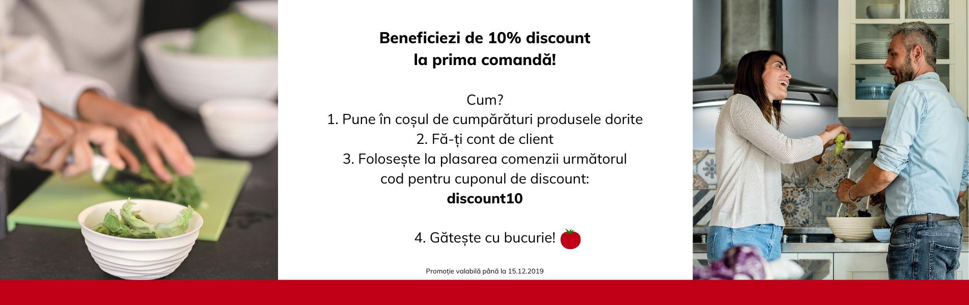 10% disc prima comanda, lansare site