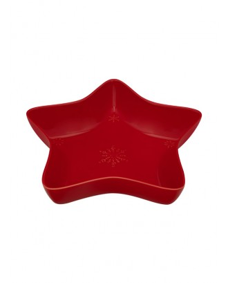 Bol rosu model stea, 37cm, Snowflakes - Bordallo Pinheiro