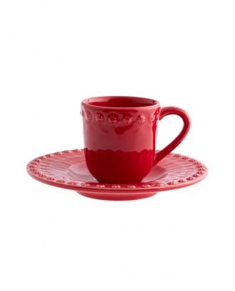 Set rosu pentru cafea, Fantasy - Bordallo Pinheiro