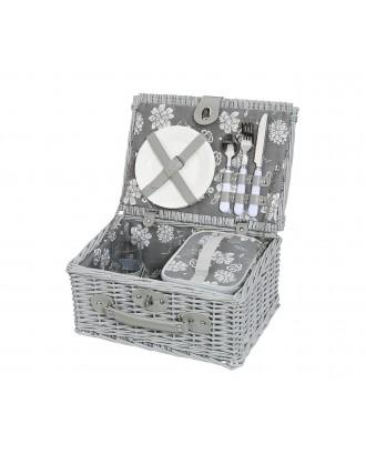 Cos de picnic pentru 2 persoane, salcie impletita, gri, model Brebbia - CILIO