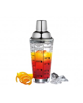 Cocktail shaker din sticla inscriptionata cu retete, 400 ml - CILIO