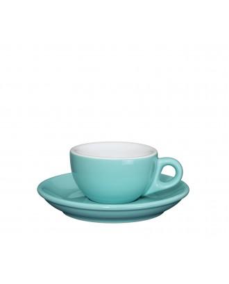 Ceasca si farfurie de espresso, turcoaz, 50 ml, colectia Roma - CILIO