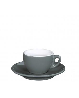Ceasca si farfurie de espresso, gri, 50 ml, colectia Roma - CILIO
