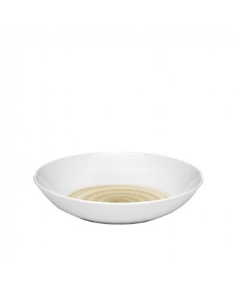 Farfurie pentru supa, pictata manual cu model crem, colectia Holly - GUZZINI