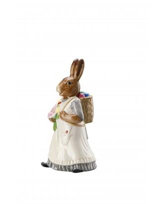 Decoratiune din portelan pentru Paste, model doamna Iepure cu cos - HUTSCHENREUTHER