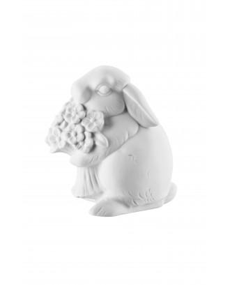 Decoratiune din portelan alb pentru Paste, model iepure cu flori, 10 cm - HUTSCHENREUTHER