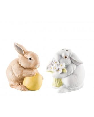 Set solnita si pipernita din portelan, model iepuri de Paste - HUTSCHENREUTHER