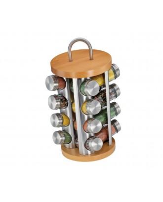 Suport rotativ pentru 16 condimente, inox si lemn de fag - KUCHENPROFI