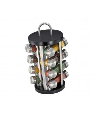 Suport rotativ pentru 16 condimente, inox si lemn de fag, negru - KUCHENPROFI