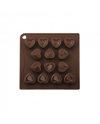 Forma ciocolata, modele inima, silicon platinic - PAVONI