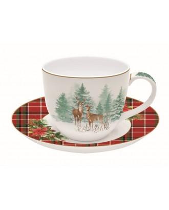 Ceasca si farfurie pentru ceai 200ml, Winter Forest