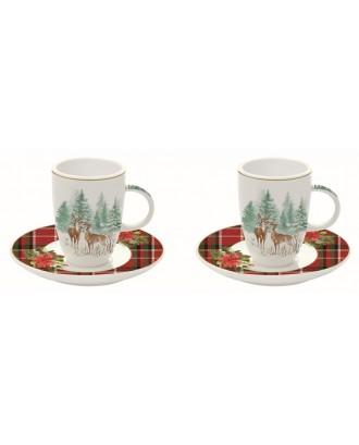 Set 2 cesti cu farfurii pentru espresso 50ml, Winter Forest
