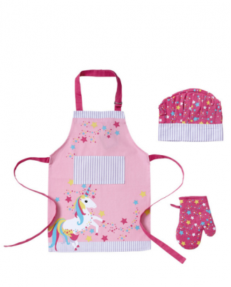 Set pentru copii, format din sort, manusa si boneta, model unicorn, bumbac - SIMONA'S COOKSHOP