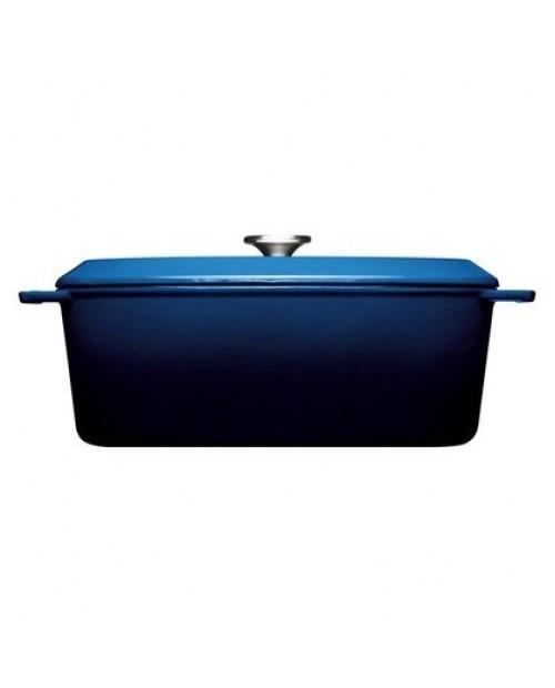 Cratita drepunghiulara cu capac, albastra, 34 x 26 cm, Iron - Woll