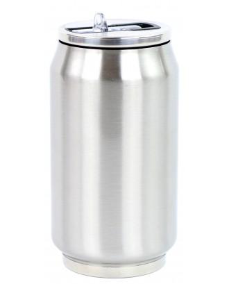Cutie izoterma cu pai, 280ml, model argintiu - YOKO