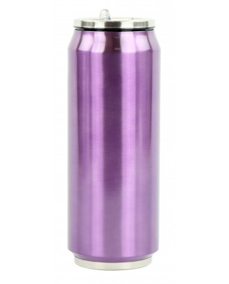 Cutie izoterma cu pai, 500ml, model violet - YOKO