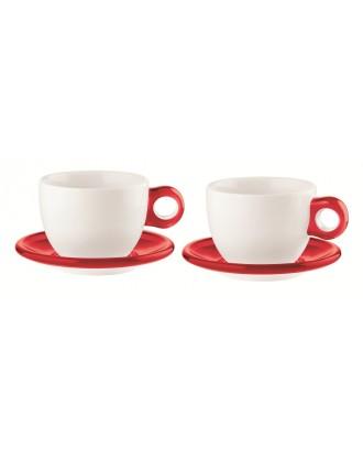 Set 2 cesti cu farfurioare pentru ceai, rosu, colectia Gocce - GUZZINI