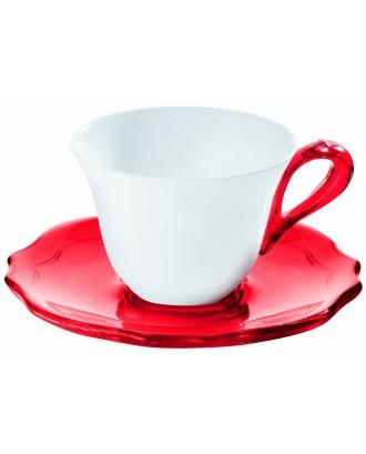 Set 6 cesti pentru espresso, rosu, portelan si acril, colectia Belle Epoque - GUZZINI