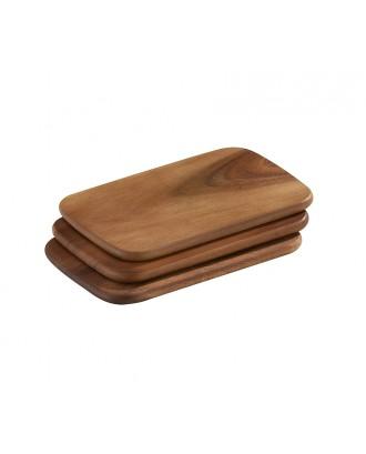 Set de 3 tocatoare din lemn de acacia, 22 x 15 cm - ZASSENHAUS