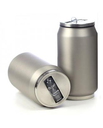Cutie izoterma cu pai, 280ml, model argintiu mat - YOKO