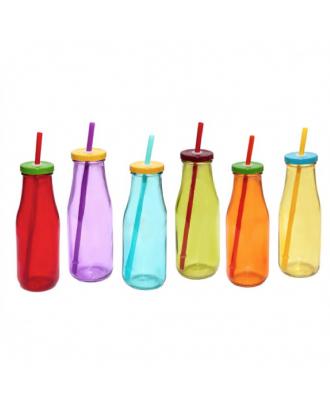 Sticla colorata cu pai si capac, 450ml - SIMONA'S COOKSHOP