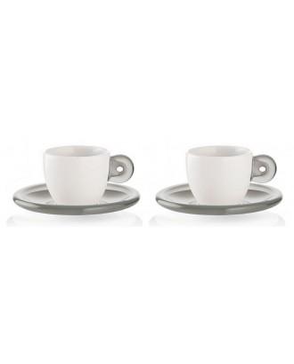 Set 2 cesti cu 2 farfurioare pentru espresso, 50 ml, gri, colectia Gocce - GUZZINI