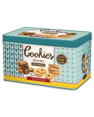 Cutie pentru biscuiti, dreptunghiulara, albastra