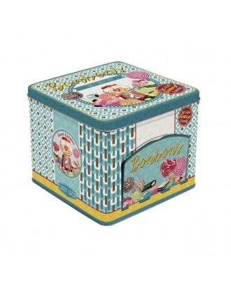 Cutie de bomboane albastra, cu sertar